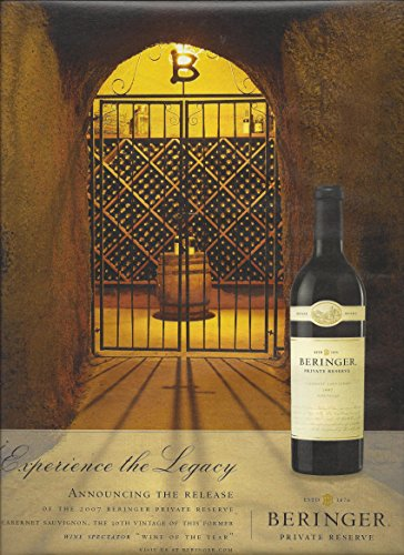 MAGAZINE AD For 2010 Beringer Private Reserve Experience The Legacy Wine Cellar