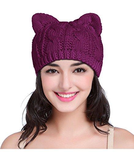 v28 Women Men Girls Boys Teens Cute Cat Ear Knit Cable Rib Hat Cap Beanie (Medium, Cat Ear Purple)
