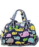 N. Gil Quilted Weekender Duffel Bag (Whale Navy Blue)