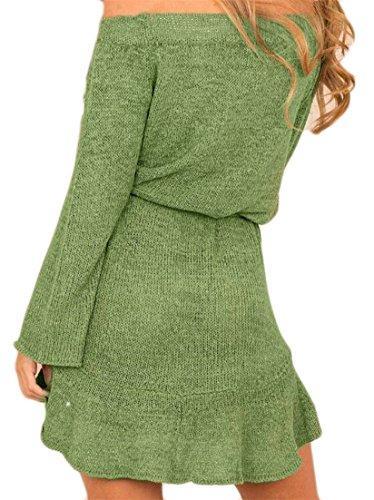 Cruiize Womens Off Manches Longues Épaule Ceinturé Tricots De Couleur Solide Pull Vert Robe
