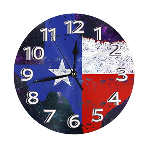 Distressed Texas Flag Map Clock Number Decorative Wall Clock Non-Ticking Digital Plastic Battery Operated Round Easy To Read Home/Office/School Clock ()