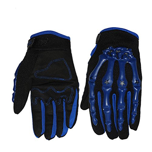 Sports Motocross Off-Road Racing Skull Gloves Bicycle MTB Bike Cycling Full Finger Gloves (Blue, L)