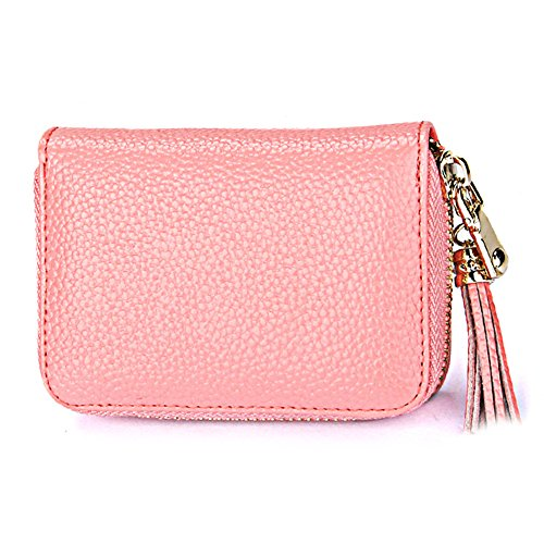 Women Red RFID Blocking Pendant Accordion Wallet OSOPOLA Wallet 15 Zipper Leather Card Credit Slots Card Pink Small Tassel for wTS1xqaS