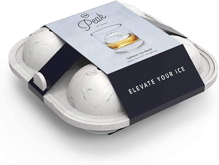 W&P Peak Silicone Sphere Ice Mold w/ Cover | Marble White | Easy to Remove | Round Cocktail Whiskey Drink Ice Maker | Food Grade Premium Silicone | Dishwasher Safe, BPA Free