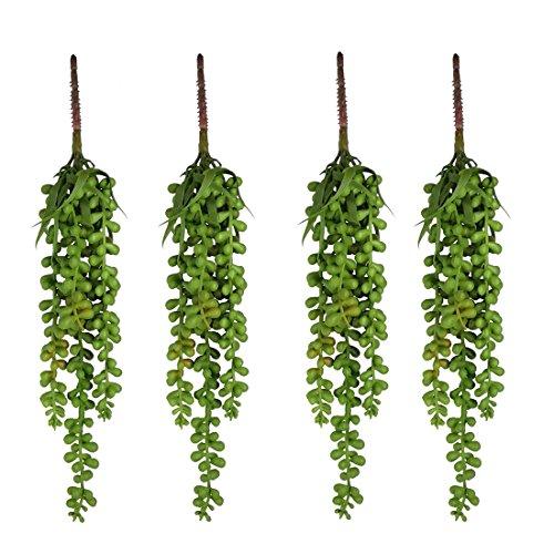 Zivisk 4 Pcs Artificial Hanging Plants Fake Succulents String of Pearls - Hanging Basketplant Lover