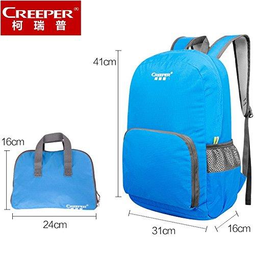 ZQ Agencia de contratación de hombres y mujeres al aire libre bolso del alpinismo del bolso de hombro bolsa de piel impermeable ultraligeros ligeros plegables bolsa mochila ligera , blue lake Red