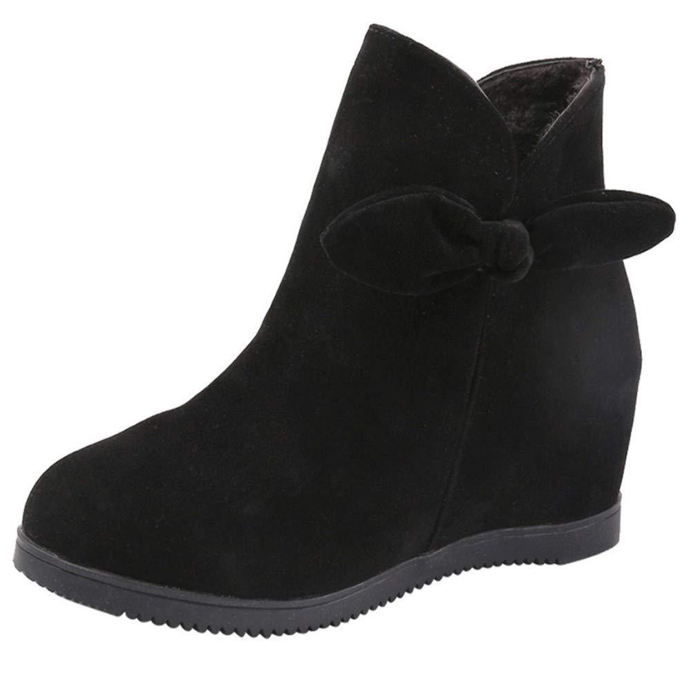 FMWLST Stiefel Frauen Reißverschluss Martin Stiefel WildPU Keil Plattform Stiefel Versteckte Ferse Schuhe High-Top Freizeitschuhe