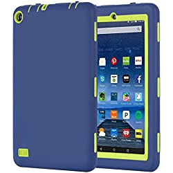 """Fire 7 2015 Case, BENTOBEN Shockproof Anti Slip Heavy Duty Rugged Impact Resistant Silicone Protective Tablet Case for Amazon Fire 7 Tablet (Fire 7"""" Display 5th Generation, 2015), Blue/Yellow"""