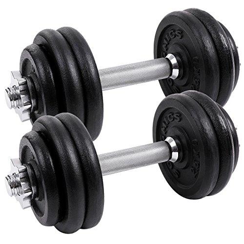 SONGMICS lot de 2 haltères courts en fonte 20 kg 30 kg 40 kg (2 x 10 kg, 2 x 15 kg, 2 x 20 kg)