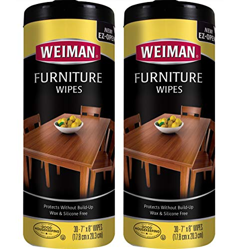 Weiman Wood Cleaner and Polish Wipes - 2 Pack - Non-Toxic for Furniture to Beautify and Protect, No Build-Up, Contains Ultra Violet Protection, Pleasant Scent, Surface Safe - 30 ()