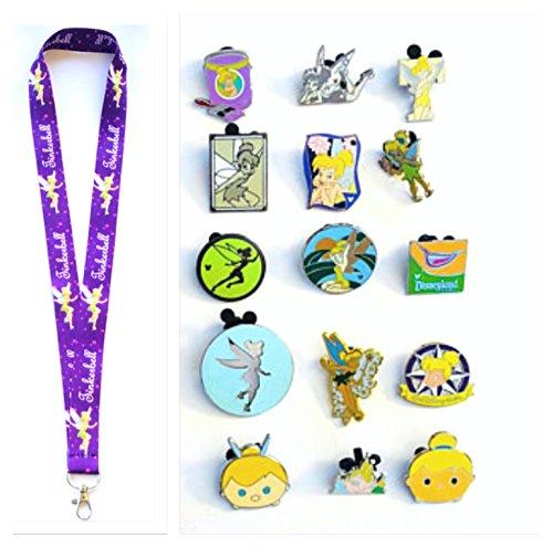 Disney Pins Tinker Bell Lanyard Disney Park Trading Pins Starter Sets & Pin Trading Guide (Tinker Bell Lanyard + 12 Pins)
