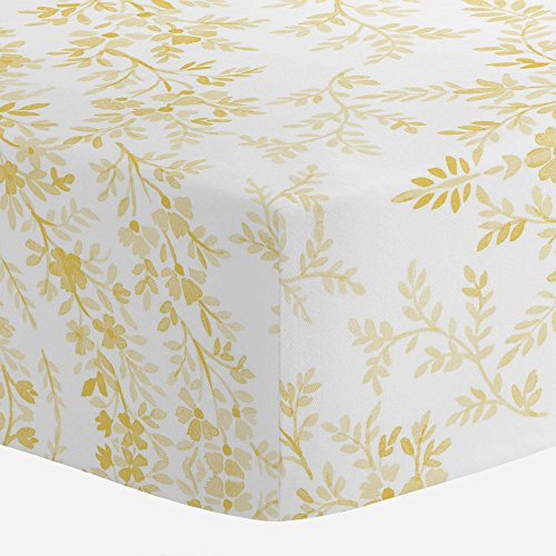 Carousel Designs Yellow Floral Damask Crib Sheet - Organic 1