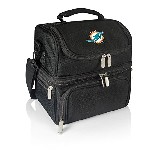 (PICNIC TIME NFL Miami Dolphins Pranzo Insulated Lunch Tote with Service for One, Black)