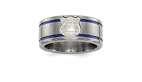Edward Mirell Titanium Blue Anodized Grooved 10mm Closed Back Band