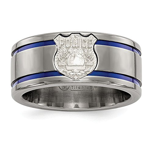 10mm Edward Mirell Blue Anodized Inlay Sterling Silver Police Shield Inlay Titanium Wedding Band - Size 11 by Edward Mirell