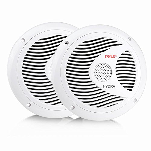 - 6.5 Inch Dual Marine Speakers - 2 Way Waterproof and Weather Resistant Outdoor Audio Stereo Sound System with 150 Watt Power, Polypropylene Cone and Cloth Surround - 1 Pair - PLMR60W (White)