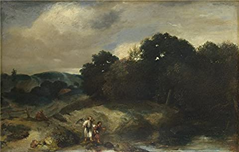 Oil Painting 'Jan Lievens A Landscape With Tobias And The Angel' 20 x 31 inch / 51 x 80 cm , on High Definition HD canvas prints is for Gifts And Bath Room, Hallway And Nursery - Warrior Rock Sliders