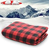 12V Car Truck Heated Blanket Electric Fleece Travel Heating Seat Blanket Throw Automotive Vehicle Road Travel Trip RV Soft Polar Fleece Winter Cold Weather- Anti-Flammable Material (Black / Red)