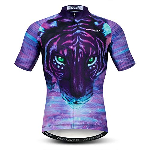 Men's Cycling Jersey Short Sleeve MTB Breathable Bike Biking Shirt Top Bicycle Jacket Tiger Size L
