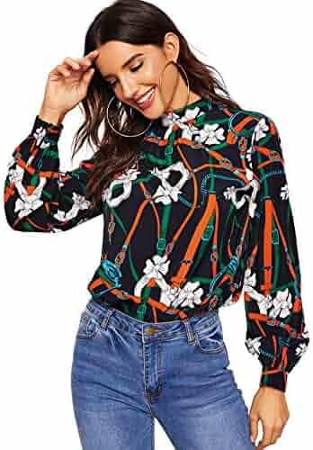 f2735dff Romwe Women's Elegant Striped Stand Collar Workwear Blouse Top Shirts Chain  Print# X-Small