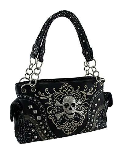 Embroidered Concealed Carry Rhinestone Skull Studded Purse (Skull Purse)