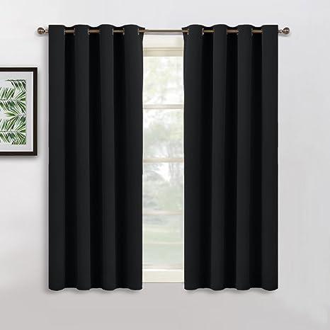 PONY DANCE Cortinas Opacas Cortas Negro Termicas Aislantes - Drapeados Moderno para Ventanas Salon Oficina Dormitorio