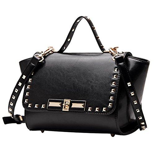 tracolla Il borse donne delle delle cuoio Nero UK donne strato cuoio di Totes per a primo di di di Mena dimensioni di dell'unità qualità borse Colore Handbags le elaborazione Nero 33cm delle borse zPq5BWx4