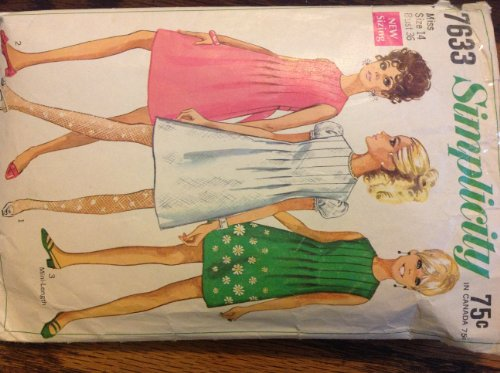 Bodice Mini - 1968 Vintage Sewing Pattern Simplicity 7633 Tucked Front Raised Bodice Mini or Short Back Zip Dress with Optional Back Tie Belt, or Puff Sleeve or Sleeveless Option Check Offers for Size