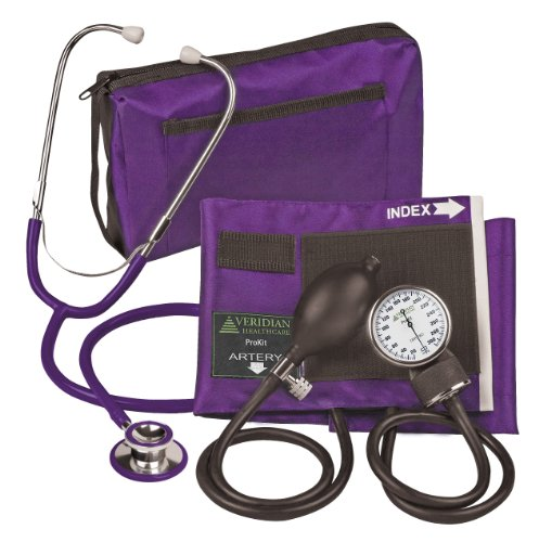 Veridian 02-12711 Aneroid Sphygmomanometer with Dual-head Stethoscope Kit, Adult, Purple