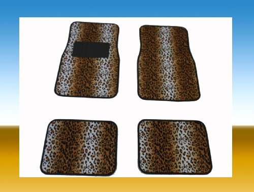 TAN LEOPARD CAR FLOOR MATS 4-PCS FOR 2-ROWS FRONT & REAR MADE WITH VELOUR
