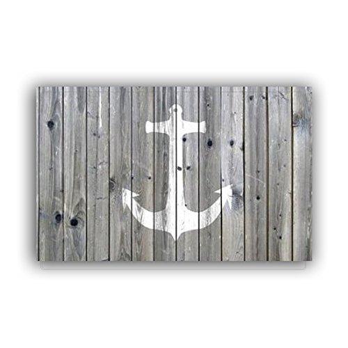 """Vandarllin Non-Slip Rustic Wood and Nautical Anchor Doormat Door Mat Rug Outdoor/Indoor (Grey and White),23.6""""x15.7"""",for Home/Office/Bedroom"""