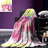 smallbeefly Lantern Super Soft Lightweight Blanket Silhouette of a Mosque Religious Artistic Composition with Antique Lantern Oversized Travel Throw Cover Blanket Hot Pink Multicolor