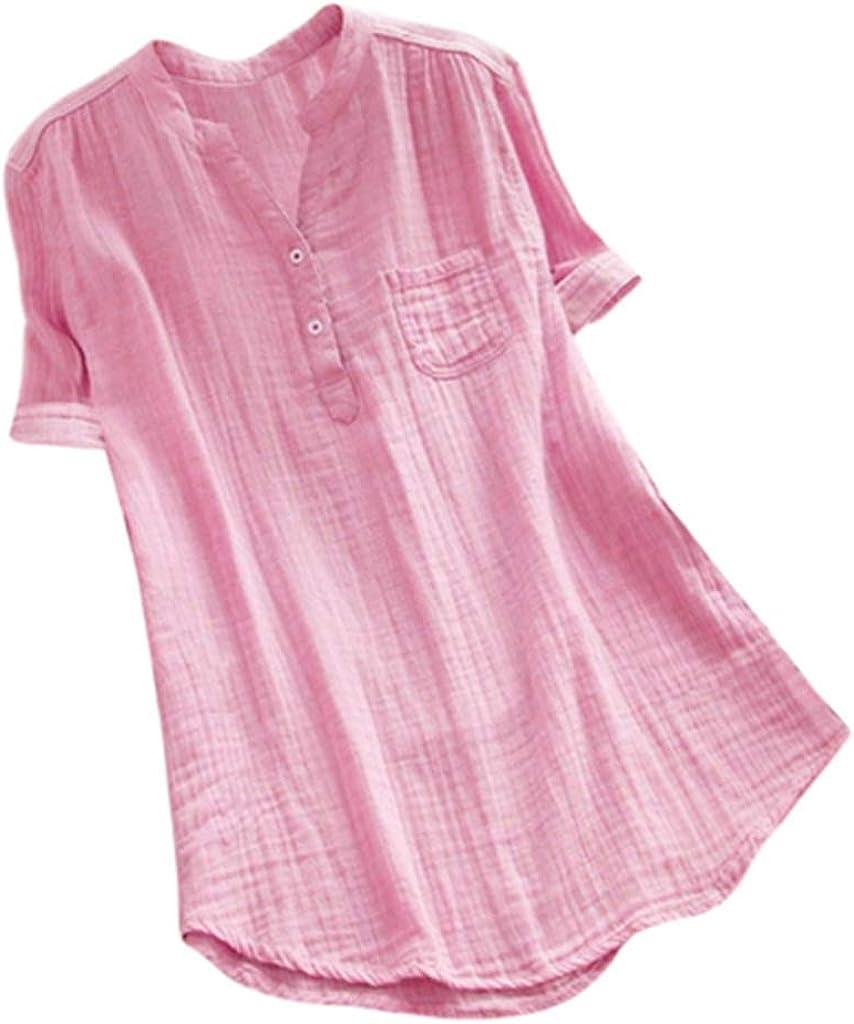 Blusas y Blusas Suaves para Mujer, Talla Grande, Cuello Alto, Blusa de Manga Corta, Camisa Suelta con Bolsillo - Rosa - 2X-Large: Amazon.es: Ropa y accesorios