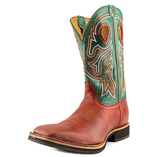 X Mens Ritorti Neon Verde Cavaliere Cowboy Boot Punta Quadrata - Mhm0018 Cognac