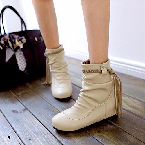 Big Beige mujer Zapatos de Yards e Zapatos de otoño de invierno mujer RFF Botas Borlas 1USx7H6