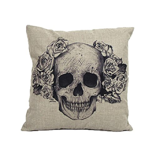 Price comparison product image VESNIBA Home Sofa Bed Cars Decoration Vintage Skull Pillowcover Skull Cushion