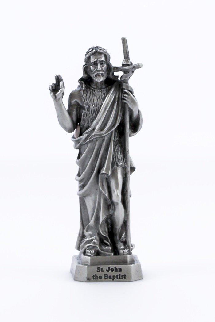 Pewter Catholic Saint St John the Baptist Statue with Laminated Prayer Card,...