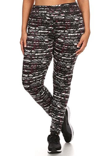 Womens Plus Size Printed Activewear Sport Pants Yoga Leggings 2X Black