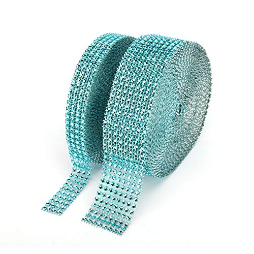 (Suhome 1 Roll 4 Row 10 Yard and 1 Roll 8 Row 10 Yard Acrylic Rhinestone Diamond Ribbon for Wedding Cakes, Birthday Decorations, Baby Shower Events, Arts and Crafts Projects (2 Rolls, Light Blue) )