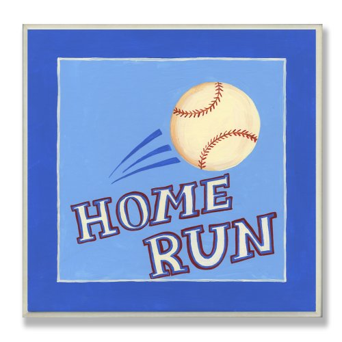 (The Kids Room by Stupell Little Slugger Home Run Square Wall Plaque)