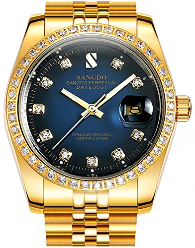 Gosasa Blue Dial Diamonds Men's Gold Stainless Steel Band Automatic Mechanical -