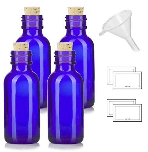 1 oz Cobalt Blue Glass Boston Round Bottle with Cork Stopper Closure (4 Pack) + Funnel and ()