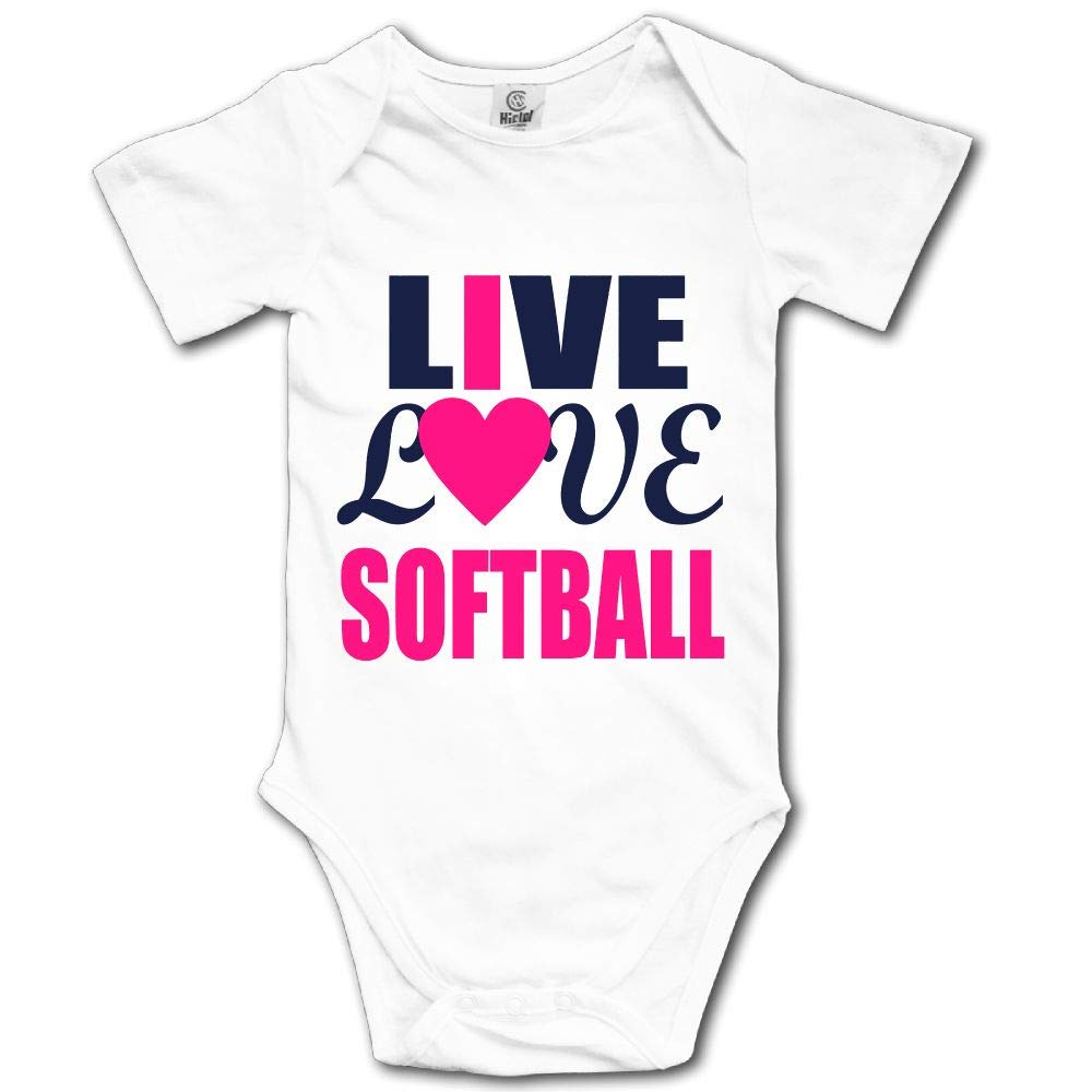 048561ca0 Amazon.com: Baby Bodysuit Live Love Softball Short Sleeves Triangle Romper  Bodysuit Outfits Infant Toddler Clothes: Clothing