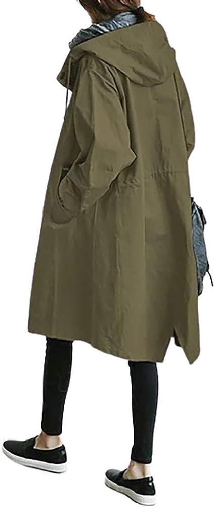 Onsoyours Mujer Chaqueta Cortavientos Parka Capucha Gabardina Larga Con Bolsillo Color Sólido Otoño Prendas De Vestir Exteriores Abrigos Jacket Coat