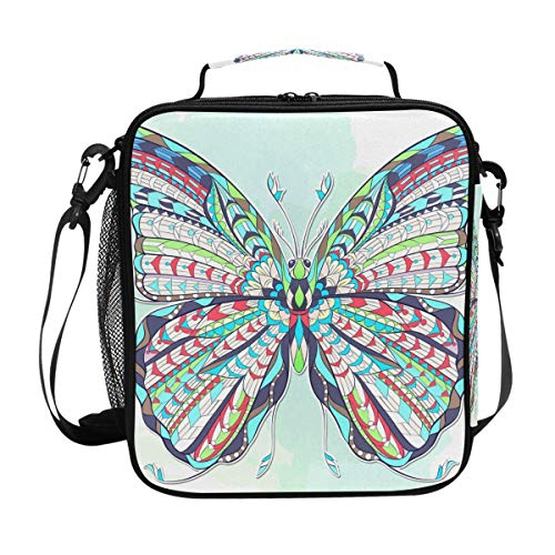 Colorful Ornate Moth Lunch Bag with Zip Closure Insulated Lunch Box Tote Bag For Kids,Adults,School,Office -