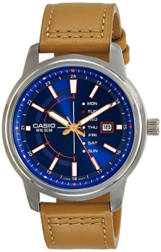 Casio MTP-E128L-2A2V Men s Enticer Leather Band Blue Dial Day Date Analog Watch