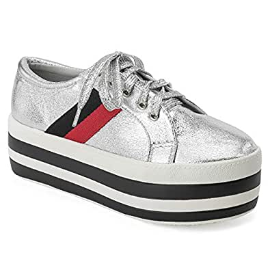 RF ROOM OF FASHION Women's Lace Up Light Weight Striped Flatform Sneaker Oxfords Silver Size: 7.5