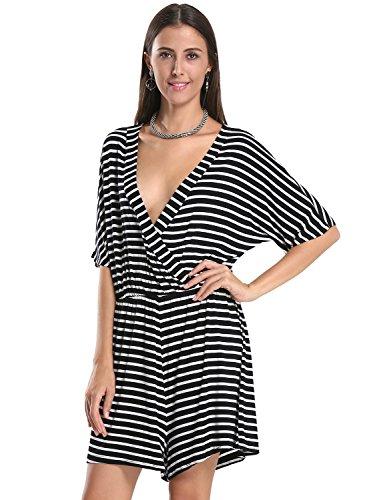 Choies Women's Cotton Black Stripe Wrap V Neck Short Sleeve Romper Playsuit (Cotton Short Sleeve Romper)