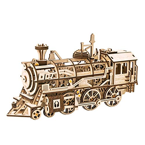 RoWood Mechanical Gear 3D Wooden Puzzle Craft Toy, Gift for Adults & Kids, Age 14+, Train Engine DIY Model Building Kits - Locomotive