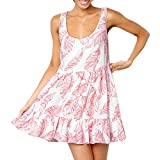 Dresses for Women Party Night Sexy Sexy Leaves Printing Off Shoulder Sleeveless Mini Dress Princess Dress (Red,L)